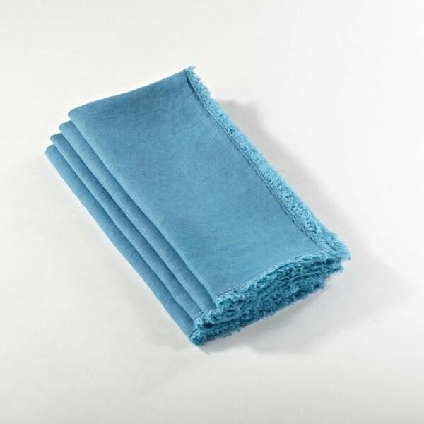Fringed Design Stone Washed Napkin - set of 4