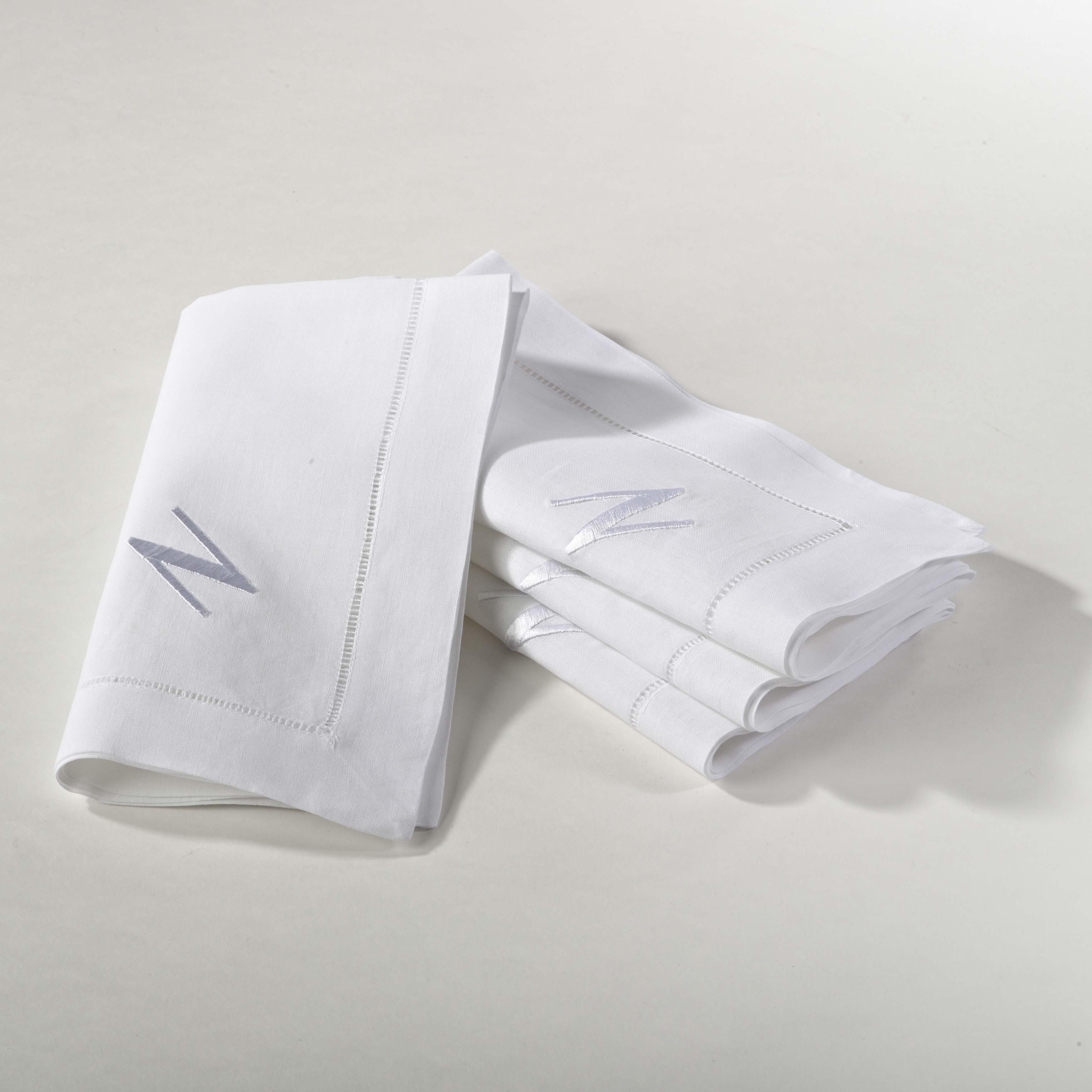 Saro Monogrammed Napkin - set of 4 (A), White (Cotton, Ab...
