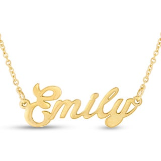 Gold Over Brass 'Emily' Nameplate Necklace