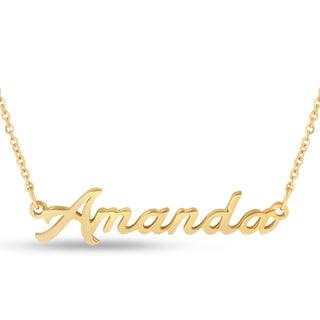 Gold Over Brass 'Amanda' Nameplate Necklace
