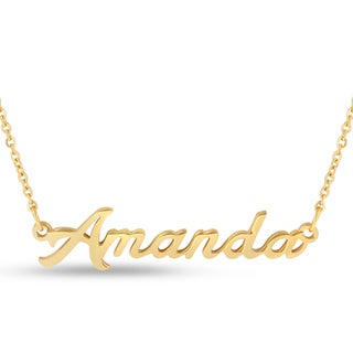 Gold Over Brass 'Amanda' Nameplate Necklace