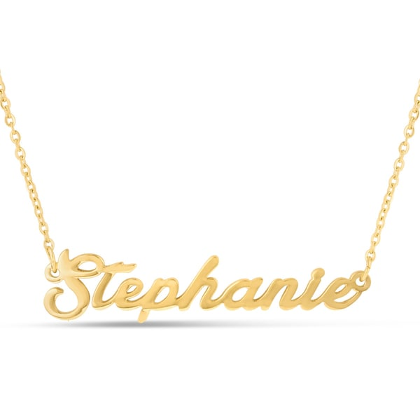 Gold Over Brass 'Stephanie' Nameplate Necklace