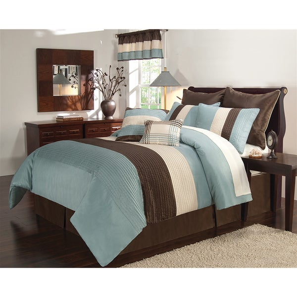 VCNY Essex Blue And Brown Piece Comforter Set Free Shipping - Blue and brown comforter sets