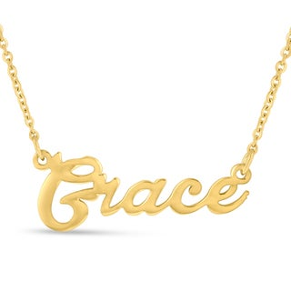 Gold Over Brass 'Grace' Nameplate Necklace