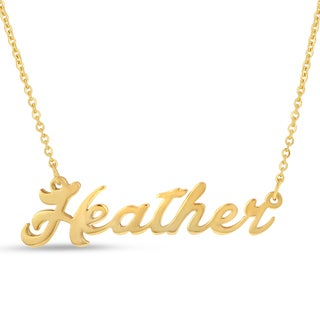 Gold Over Brass 'Heather' Nameplate Necklace