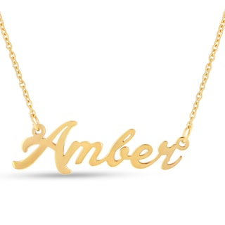 18k Goldplated 'Amber' Nameplate Necklace