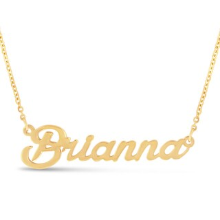 Gold Over Brass 'Brianna' Nameplate Necklace