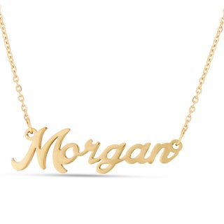 Gold Over Brass 'Morgan' Nameplate Necklace
