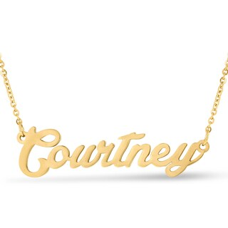 Gold Over Brass 'Courtney' Nameplate Necklace