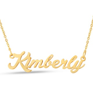 Gold Over Brass 'Kimberly' Nameplate Necklace