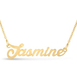 Gold Over Brass 'Jasmine' Nameplate Necklace