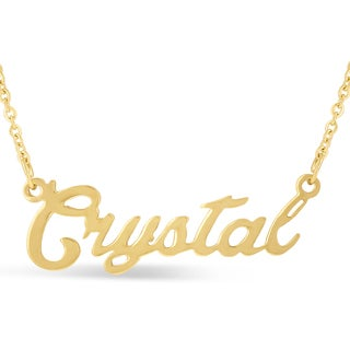 Gold Over Brass 'Crystal' Nameplate Necklace