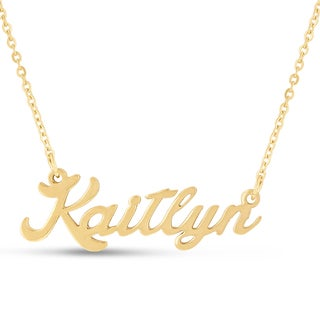 Gold Over Brass 'Kaitlyn' Nameplate Necklace