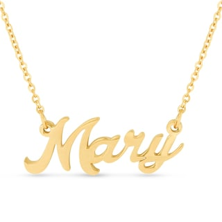 Gold Over Brass 'Mary' Nameplate Necklace