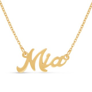Gold Over Brass 'Mia' Nameplate Necklace