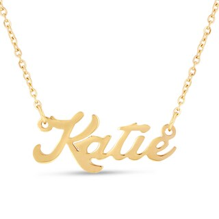 Gold Over Brass 'Katie' Nameplate Necklace