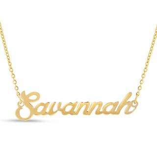 18k Goldplated 'Savannah' Nameplate Necklace