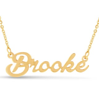Gold Over Brass 'Brooke' Nameplate Necklace