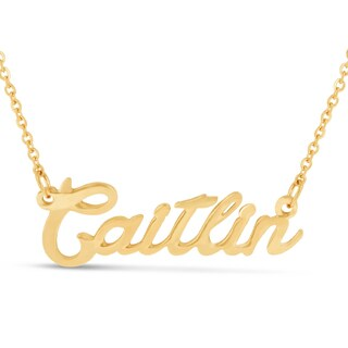 Gold Over Brass 'Caitlin' Nameplate Necklace