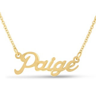 18k Goldplated 'Paige' Nameplate Necklace