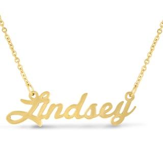 Gold Over Brass 'Lindsey' Nameplate Necklace