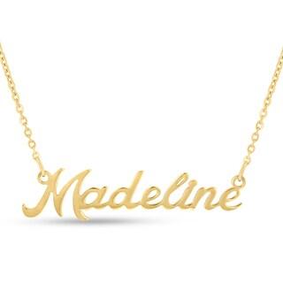 Gold Over Brass 'Madeline' Nameplate Necklace