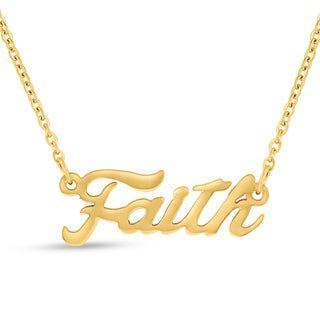 Gold Over Brass 'Faith' Nameplate Necklace