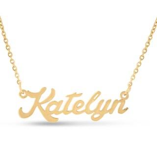 Gold Over Brass 'Katelyn' Nameplate Necklace