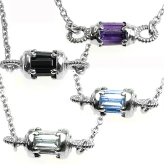 Michael Valitutti Silver Choice of Blue Topaz, Black Spinel, White Topaz, or Amethyst Pendant