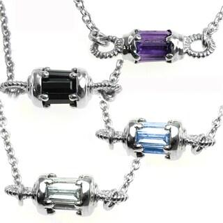 Michael Valitutti Silver Choice of Blue Topaz, Black Spinel, White Topaz, or Amethyst Pendant