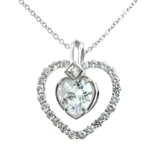 Michael Valitutti Silver Cubic Zirconia Changable Heart Pendant