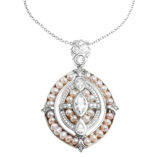 Michael Valitutti Silver Cubic Zirconia and Pink Pearl Pendant
