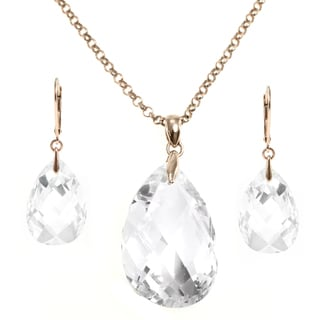 Michael Valitutti Silver Cubic Zirconia Earrings and Necklace Set