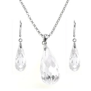 Michael Valitutti Silver Cubic Zirconia Earring and Necklace Set