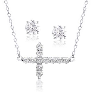 Dolce Giavonna Silver Overlay Cubic Zirconia Cross Necklace and Stud Earrings Set