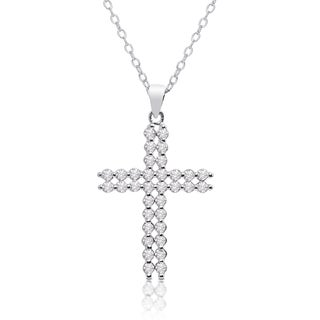 Dolce Giavonna Silver Overlay Cubic Zirconia Double Cross Necklace