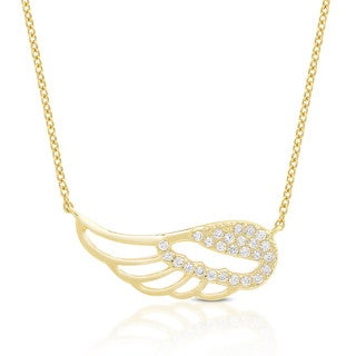 Dolce Giavonna Sterling Silver Cubic Zirconia Wing Necklace