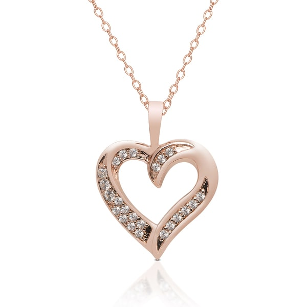 Dolce Giavonna Rose Gold Overlay Cubic Zirconia Open Heart Necklace