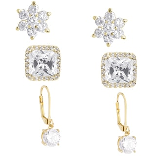 Dolce Giavonna Silver or Gold Overlay 3-pair Cubic Zirconia Earring Set