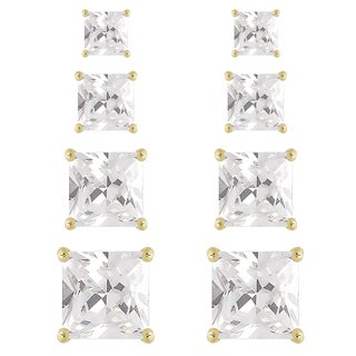 Dolce Giavonna Silver or Gold Overlay Cubic Zirconia 4-pair Square-cut Stud Earring Set