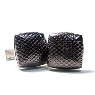 Men's Hi Polished Gunmetal and Silvertone Cuflfinks