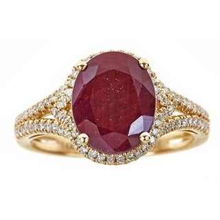 Anika and August 14k Yellow Gold Oval-cut Ruby and Diamond Ring (G-H, I1-I2)