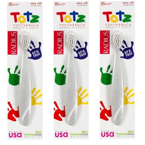 Radius Toothbrush Totz Extra Soft Toddler Toothbrush (Pack of 3)