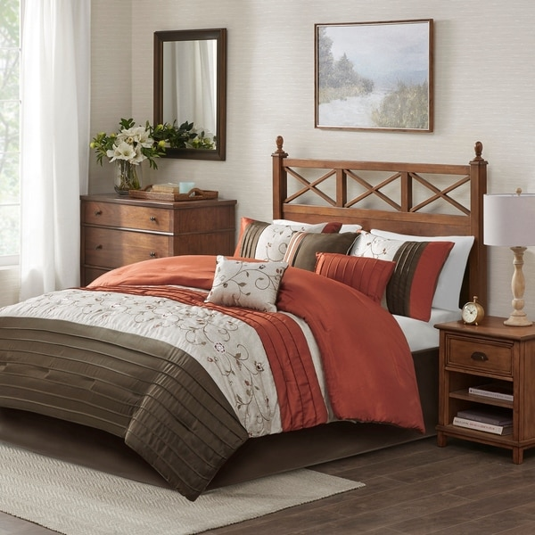 Queen King Bed Spice Orange Brown Floral Embroidered Pintuck 7 pc Comforter Set