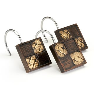 Animal Print Faux Leather Shower Curtain and Hooks Set or Separates (3 options available)