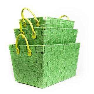 Woven Green Storage Baskets (Set of 3)
