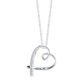 Inspirational Sterling Silver and Cubic Zirconia Heart Shape 'First My Daughter Forever My Friend' Pendant