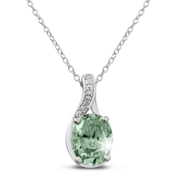 Sterling Silver 2 3/4 TGW Oval-cut Green Amethyst Diamond Accent Necklace