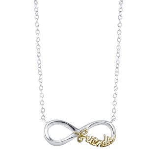Inspirational Two-tone Sterling Silver 'Friends' Infinity Necklace