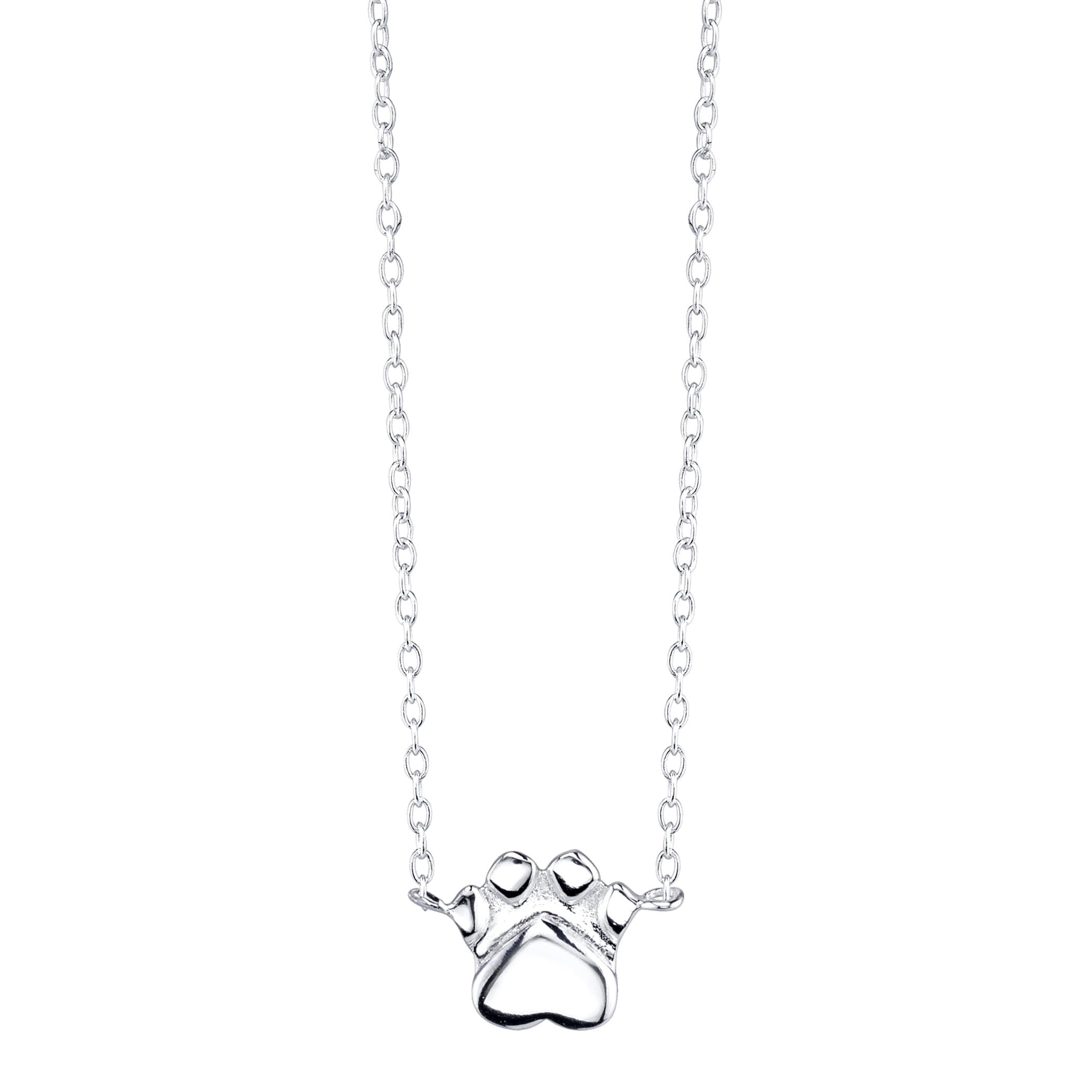 Silvertone Sterling Silver Dog Paw Mini Necklace (Sterlin...